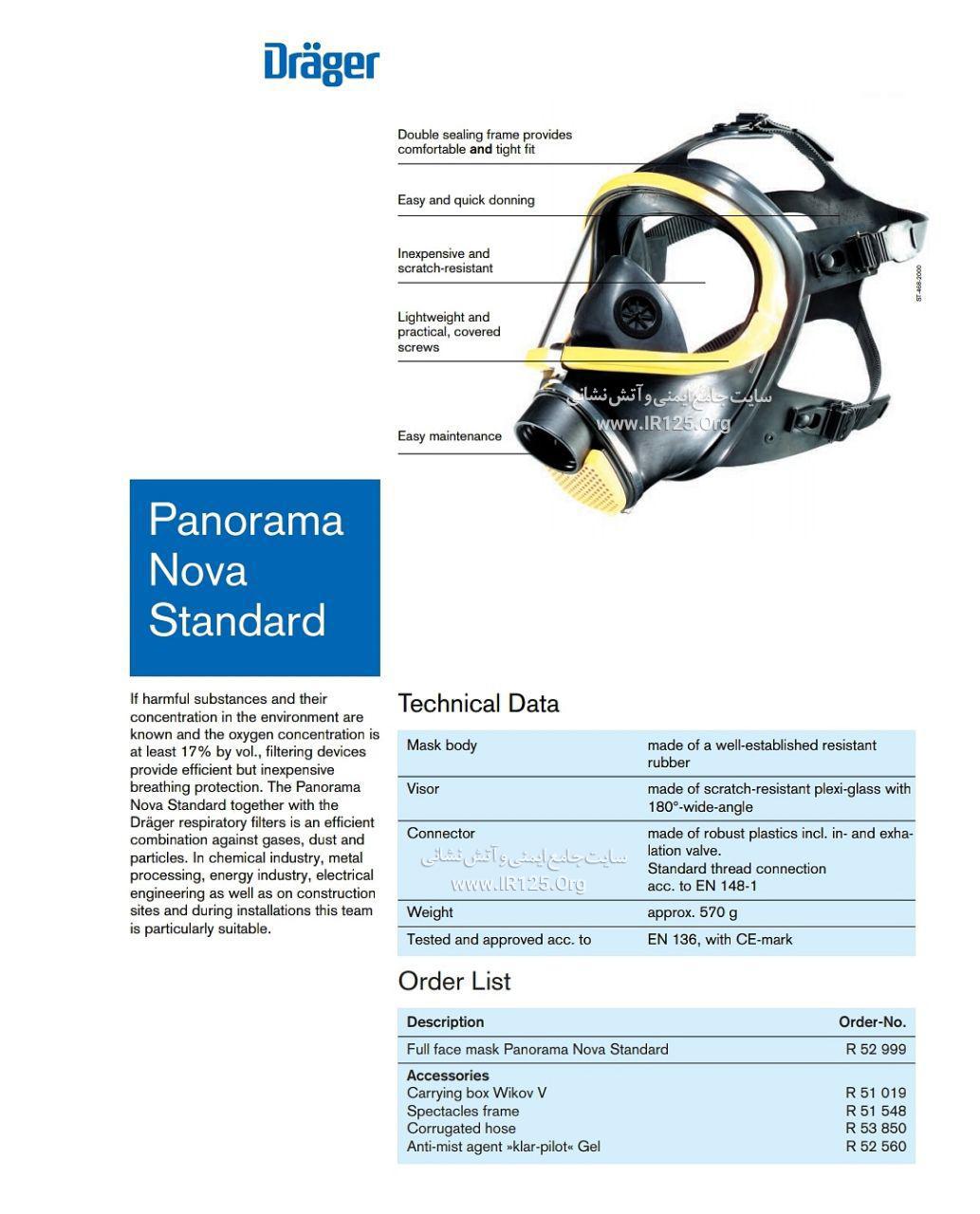 ماسک دستگاه تنفسی دراگر پانوراما